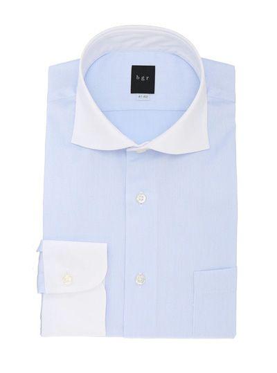 カッタウェイ クレリックカラー サックスブルー小柄ドビー 長袖ドレスシャツ